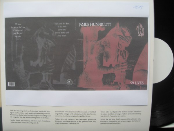 HUNNICUTT, JAMES - 99 Lives LP test Pressing ltd.
