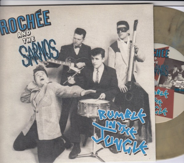"""ROCHEE AND THE SARNOS - Rumble In The Jungle 7""""EP beige/black ltd."""